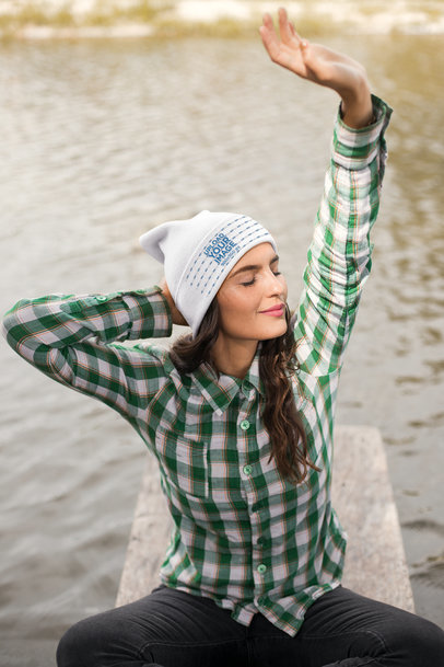 Beanie Mockup Featuring a Peaceful Woman by a Lake 24629