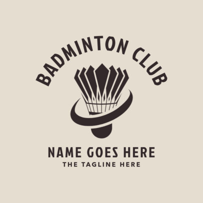 Badminton Club Logo Design Template with a Shuttlecock Clipart 1631d
