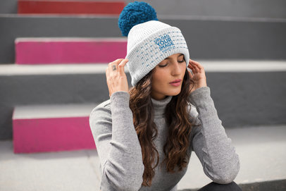 Beanie Mockup Featuring a Handsome Woman with a Winter Outfit 24633