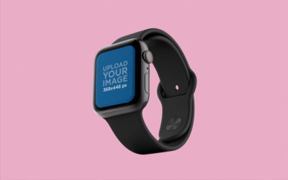 Mockup of an Apple Watch Floating in a Flat Background 25067
