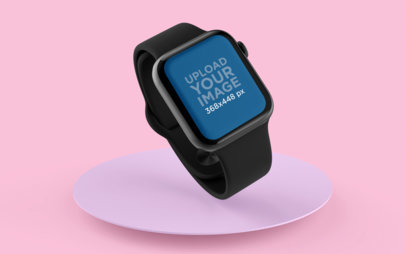 Mockup of an Apple Watch Floating Over a Round Surface with Custom Colors 25069