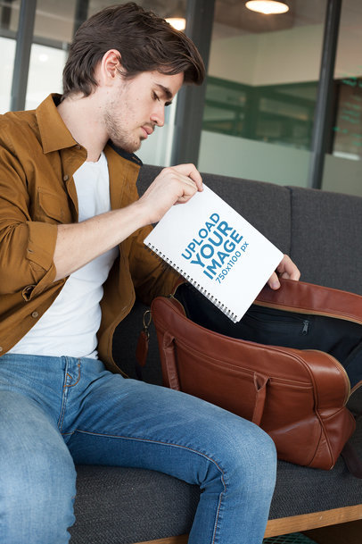 Mockup of a Man Putting Away His Notebook 24161