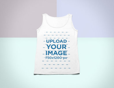 Flat Lay Mockup of a Tank Top Over a Solid Colored Surface 24770