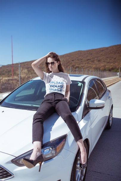 Mockup of a Stylish Woman Wearing a Tee and Heels Posing on a Car 20064