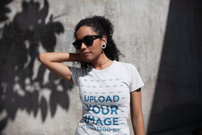 T-Shirt Mockup of a Cool Woman with Gauge Earrings 18242