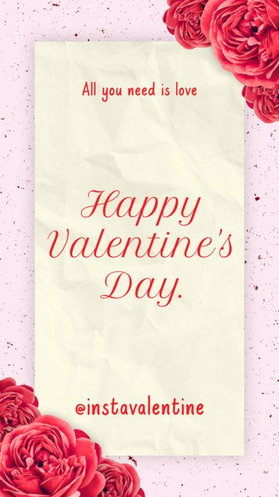 Cool Instagram Story Generator for Valentine's Day Featuring Flower Graphics 1042