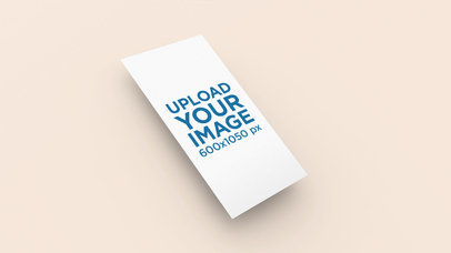 Mockup of a Vertical Business Card Floating over a Solid Background 25042