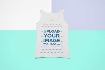 Mockup of a Heathered Tank Top Lying Flat over a Colorful Surface 24769