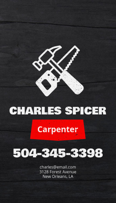 Carpenter Business Card Template with Fun Graphics 82d