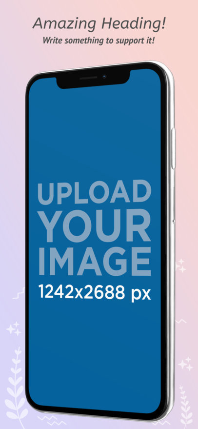 iOS Screenshot Generator Featuring an iPhone XS Max with Illustrated Backgrounds 1319b