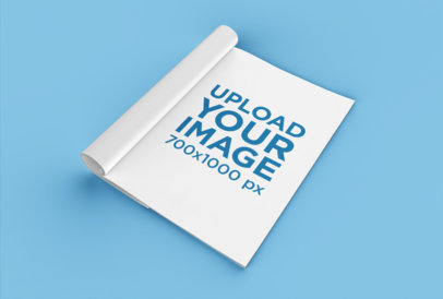 Mockup of a Folded Magazine on a Flat Surface 25077