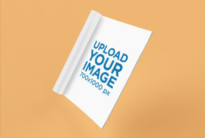 Magazine Mockup Floating on a Custom Flat Background 25078