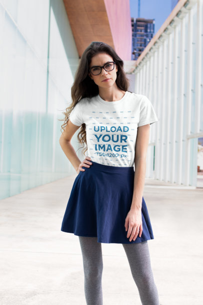 T Shirt Mockup Featuring a Handsome Woman Posing in a Skirt Outfit 18269