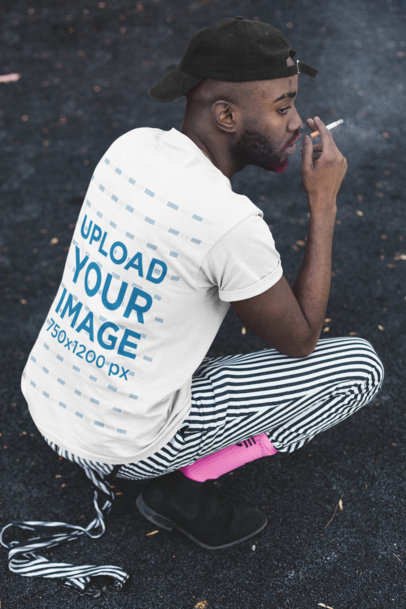 Back View Mockup of a Man Wearing a T-Shirt While Smoking 21686