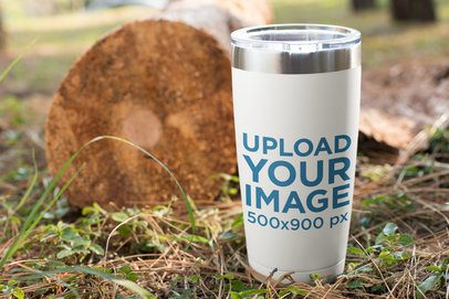 Mockup of a Travel Mug Outdoors 24384