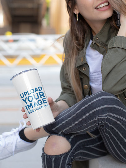 Travel Mug Mockup of a Girl Talking on Her Phone 24340
