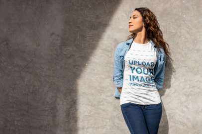 Tee Mockup of a Woman Casually Leaning on a Wall 24663