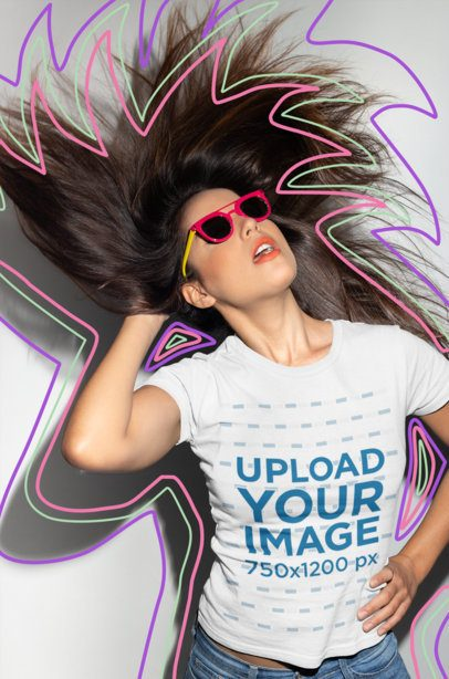 T-Shirt Mockup Featuring a Cool Woman Flipping Her Hair 18652
