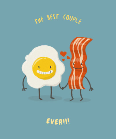 Valentine's T-Shirt Design Generator with Bacon and Egg Graphic 1039d