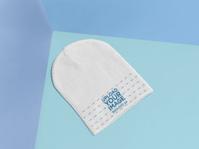 Knit Beanie Mockup Featuring a Colorful Background 25183