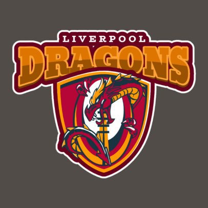 Rugby Logo Maker with Dragon Clipart 1619b