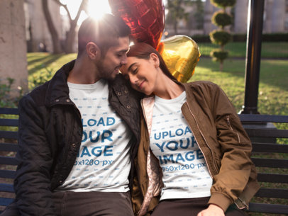 Mockup of a Romantic Couple Wearing T-Shirts on Valentine's Day 19011