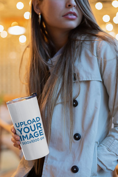 Mockup of a Pretty Woman With Long Hair Holding a Travel Mug 24347