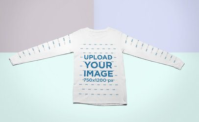 Mockup of a Long Sleeve T-Shirt Lying Flat on a Surface with Three Colors 24764