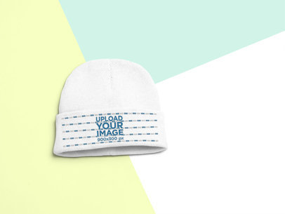 Flat Lay Mockup of a Short Beanie 24753