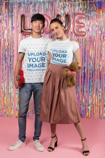 T-Shirt Mockup of a Biracial Couple on Valentine's Day 25407