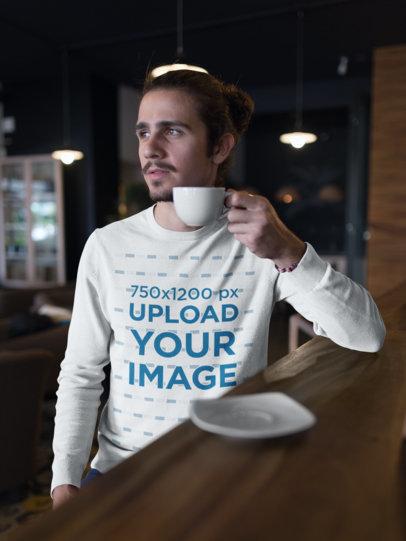 Sweatshirt Mockup of a Man Having a Coffee 18102