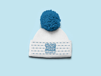 Mockup of a Pom Pom Beanie over a Flat Surface 24587
