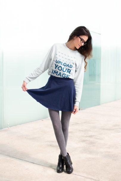 Sweatshirt Mockup of a Girl Posing Outside a Glass Building 18254