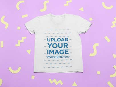 Mockup of a T-Shirt Surrounded by Fun Cut out Shapes 24961