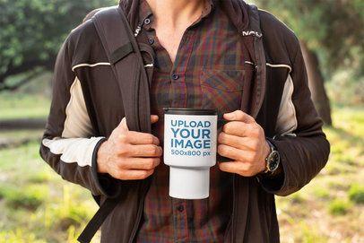 Mockup of a Man Hiking with His Travel Mug 24392