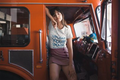 Tshirt Mockup of a Girl on a Fire Truck 19621