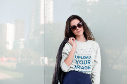 Mockup of a Cool Girl Wearing a Crewneck Sweater 18267