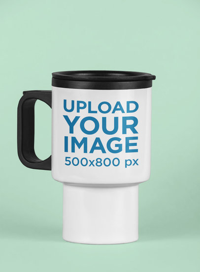 Travel Mug Mockup Featuring a Solid Background 25597