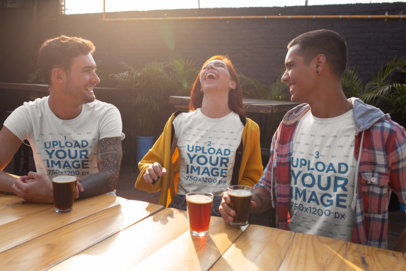 T-Shirt Mockup Featuring Three Friends Enjoying a Beer 25243