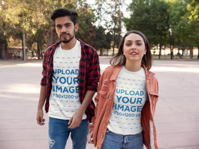 Mockup of a Fashionable Couple Wearing Tees 25227