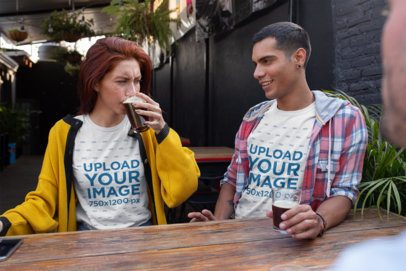T-Shirt Mockup of Two Friends Drinking Beer  25244
