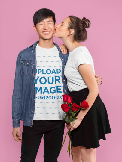 Valentine's Day T-Shirt Mockup of a Happy Interracial Couple 25416