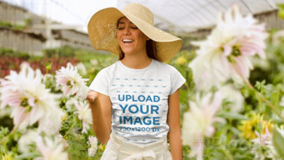 Parallax Video Mockup of a Woman in a Greenhouse 25609