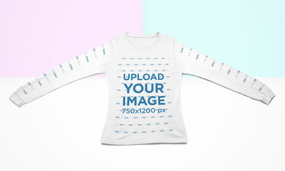 Mockup of a Long Sleeve Tee Lying Flat Over a Colorful Surface 24765
