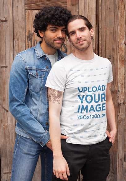T-Shirt Mockup of a LGBT Man Posing with His Boyfriend 25402
