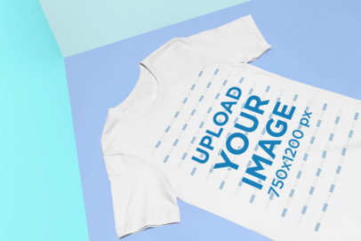 Mockup of a T-Shirt Laid Flat over a Colorful Background 25149