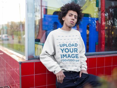 Crewneck Sweatshirt Mockup Featuring a Man with an Afro Outside a Playground 18347