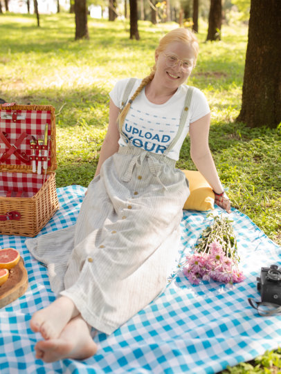 T-Shirt Mockup of a Woman Enjoying Her Picnic 21997