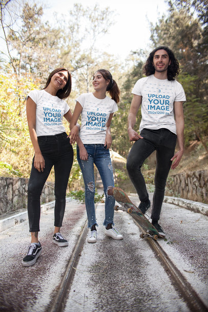 Round Neck Tee Mockup of Three Friends Standing by Rails Lines 25225