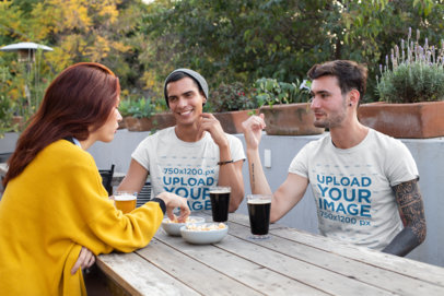 Tee Mockup of a Group of Friends Having a Drink 25258